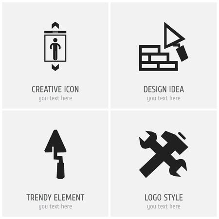Set of 4 editable structure icons. Includes symbols such as elevator, plastering, repair and more. Can be used for web, mobile, UI and infographic design. Illustration