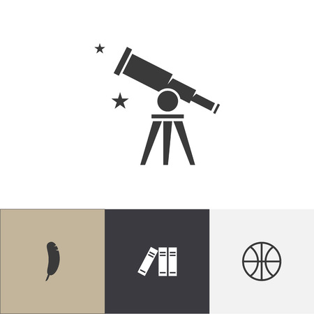 Set of 4 editable teach icons. Includes symbols such as binder, plume, telescope and more. Can be used for web, mobile, UI and infographic design.