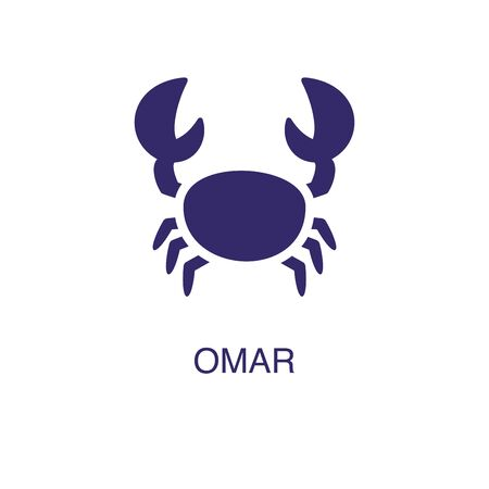 Omar element in flat simple style on white background. Omar icon, with text name concept template Illusztráció