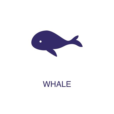 Whale element in flat simple style on white background. Whale icon, with text name concept template Stock fotó - 133700457