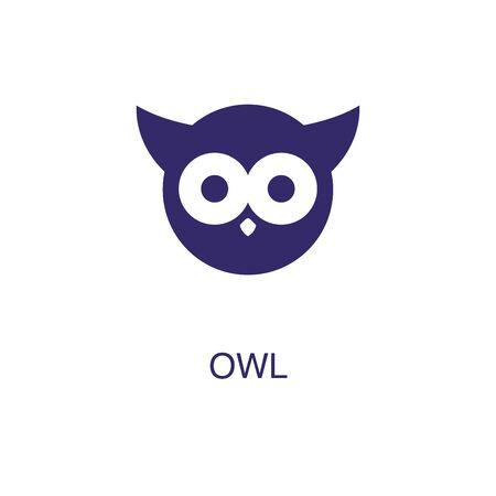 Owl element in flat simple style on white background. Owl icon, with text name concept template