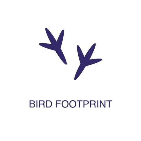 Bird footprint element in flat simple style on white background. Bird footprint icon, with text name concept template