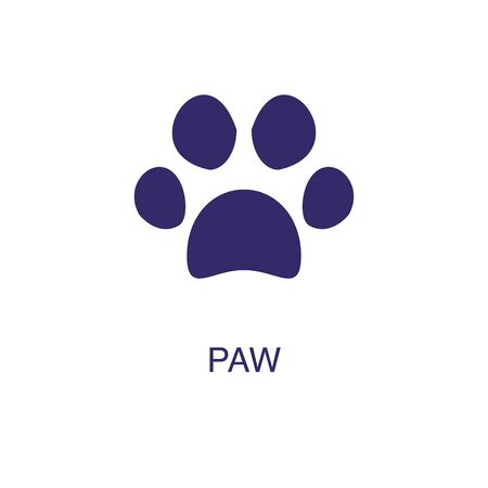 Paw element in flat simple style on white background. Paw icon, with text name concept template