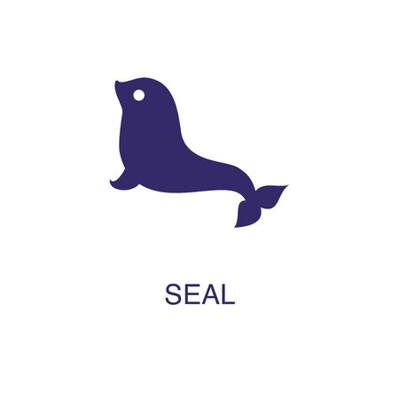 Seal element in flat simple style on white background. Seal icon, with text name concept template Foto de archivo - 133700573