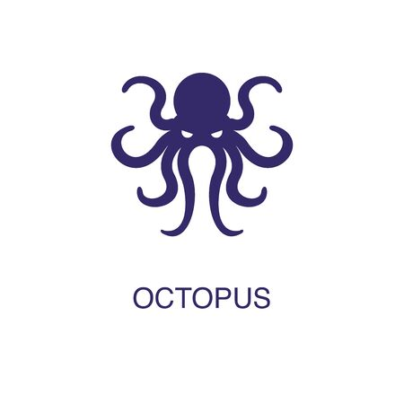 Octopus element in flat simple style on white background. Octopus icon, with text name concept template Foto de archivo - 133700574
