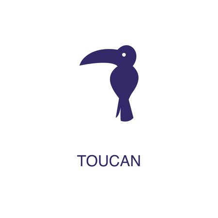 Toucan element in flat simple style on white background. Toucan icon, with text name concept template Foto de archivo - 133700575