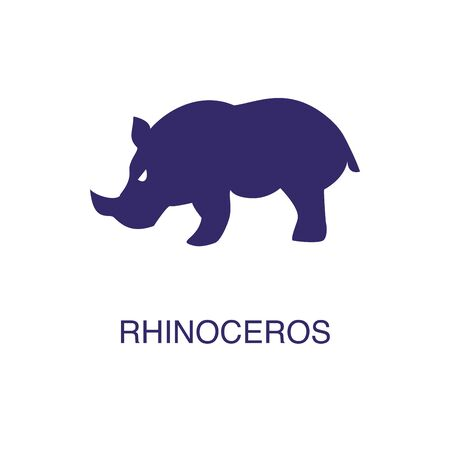 Rhinoceros element in flat simple style on white background. Rhinoceros icon, with text name concept template Foto de archivo - 133700579