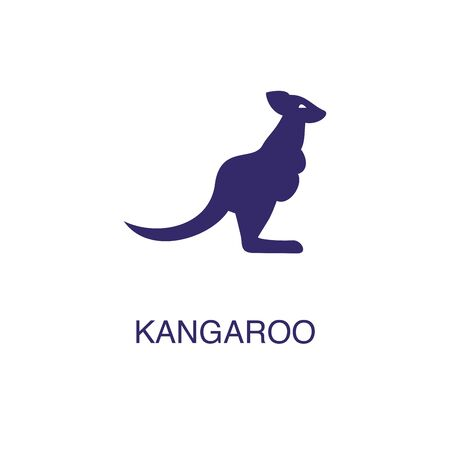 Kangaroo element in flat simple style on white background. Kangaroo icon, with text name concept template Foto de archivo - 133700581