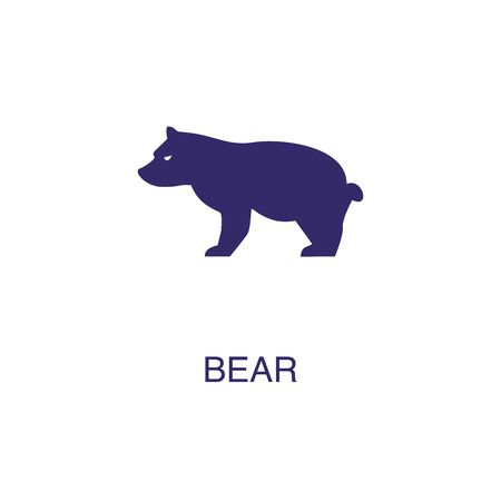Bear element in flat simple style on white background. Bear icon, with text name concept template Foto de archivo - 133700583