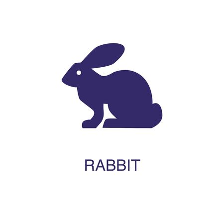 Rabbit element in flat simple style on white background. Rabbit icon, with text name concept template