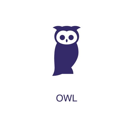 Owl element in flat simple style on white background. Owl icon, with text name concept template Foto de archivo - 133700586