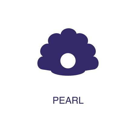 Pearl element in flat simple style on white background. Pearl icon, with text name concept template Stock fotó - 133700588