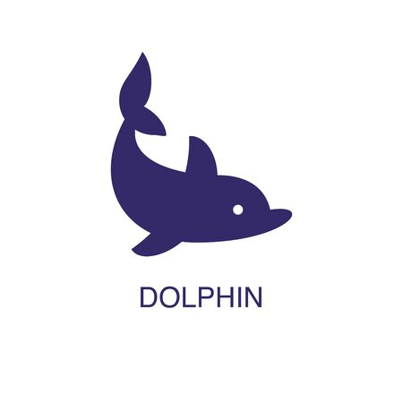 Dolphin element in flat simple style on white background. Dolphin icon, with text name concept template Foto de archivo - 133700589