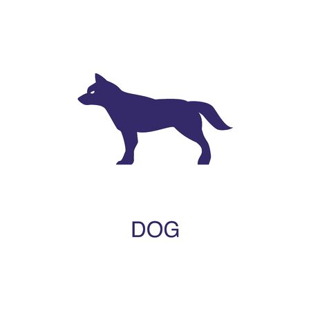 Dog element in flat simple style on white background. Dog icon, with text name concept template Foto de archivo - 133700591
