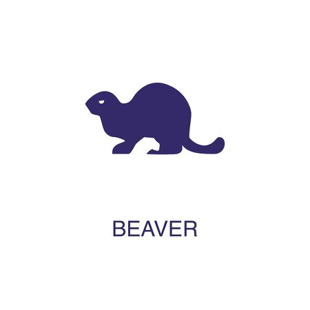 Beaver element in flat simple style on white background. Beaver icon, with text name concept template Foto de archivo - 133700597