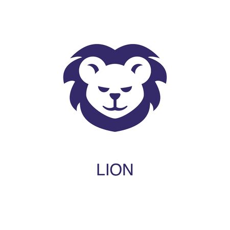 Lion element in flat simple style on white background. Lion icon, with text name concept template Foto de archivo - 133700599