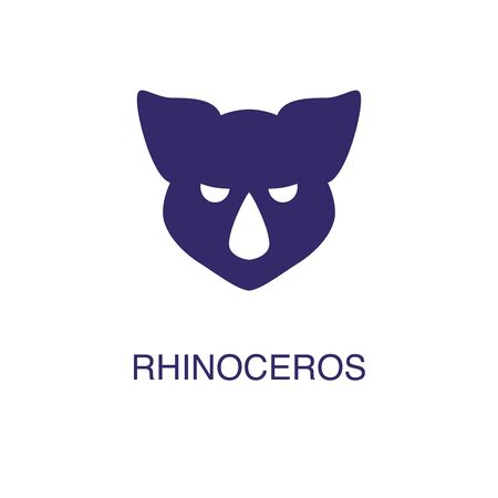Rhinoceros element in flat simple style on white background. Rhinoceros icon, with text name concept template Foto de archivo - 133700595
