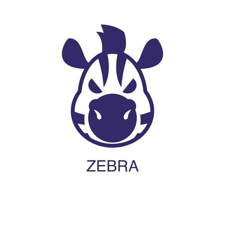 Zebra element in flat simple style on white background. Zebra icon, with text name concept template Foto de archivo - 133700601