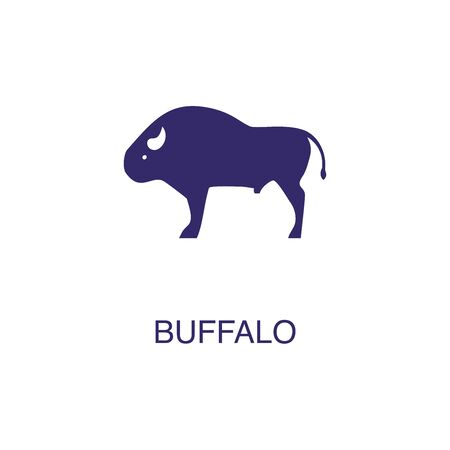Buffalo element in flat simple style on white background. Buffalo icon, with text name concept template Foto de archivo - 133700604