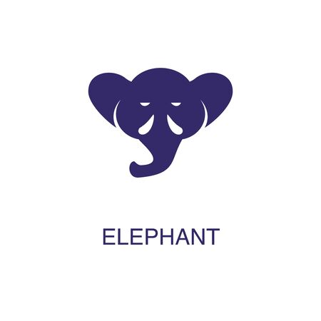 Elephant element in flat simple style on white background. Elephant icon, with text name concept template Foto de archivo - 133700609