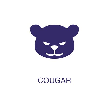 Cougar element in flat simple style on white background. Cougar icon, with text name concept template