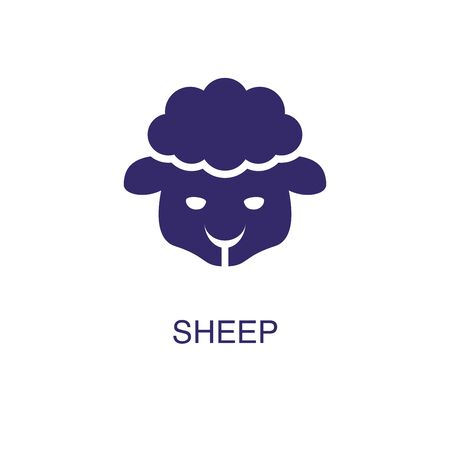 Sheep element in flat simple style on white background. Sheep icon, with text name concept template
