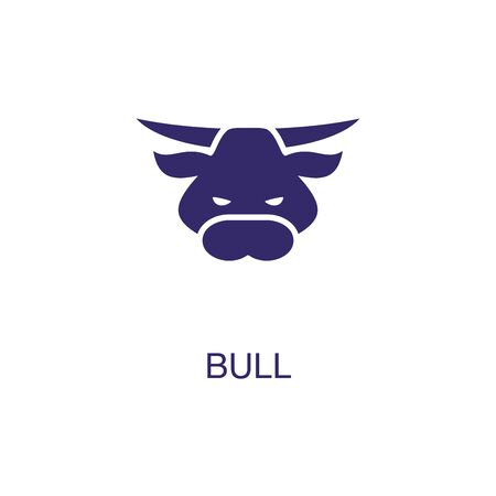 Bull element in flat simple style on white background. Bull icon, with text name concept template Foto de archivo - 133700612