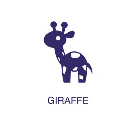 Giraffe element in flat simple style on white background. Giraffe icon, with text name concept template Foto de archivo - 133700618