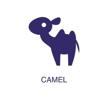 Camel element in flat simple style on white background. Camel icon, with text name concept template Foto de archivo - 133700620