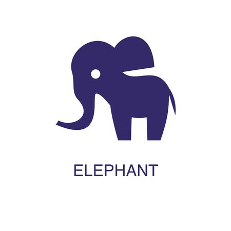 Elephant element in flat simple style on white background. Elephant icon, with text name concept template Foto de archivo - 133700622