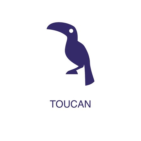Toucan element in flat simple style on white background. Toucan icon, with text name concept template Foto de archivo - 133700625
