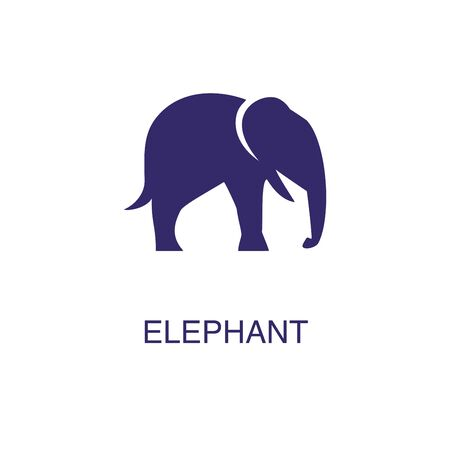 Elephant element in flat simple style on white background. Elephant icon, with text name concept template Foto de archivo - 133700627
