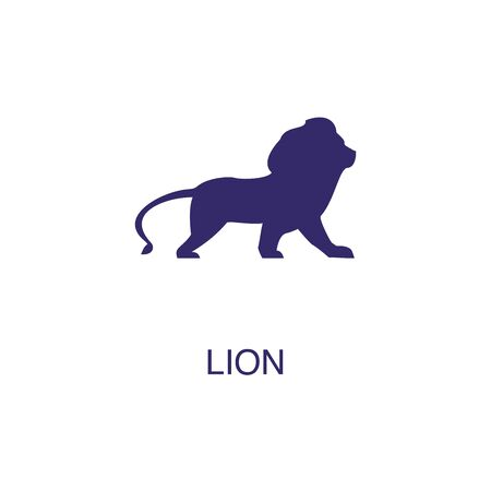 Lion element in flat simple style on white background. Lion icon, with text name concept template Foto de archivo - 133700680