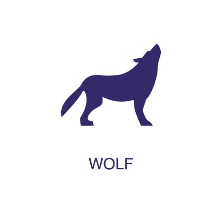 Wolf element in flat simple style on white background. Wolf icon, with text name concept template Foto de archivo - 133700681