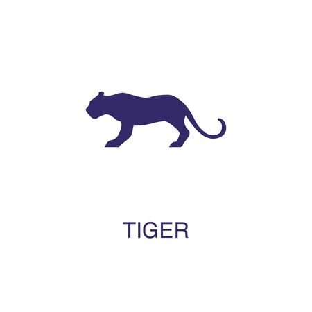 Tiger element in flat simple style on white background. Tiger icon, with text name concept template
