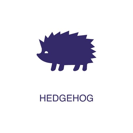 Hedgehog element in flat simple style on white background. Hedgehog icon, with text name concept template Foto de archivo - 133700684
