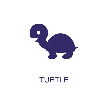 Turtle element in flat simple style on white background. Turtle icon, with text name concept template Foto de archivo - 133700690