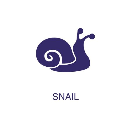 Snail element in flat simple style on white background. Snail icon, with text name concept template