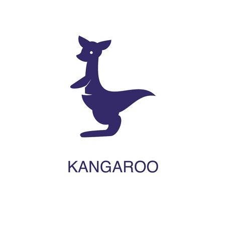 Kangaroo element in flat simple style on white background. Kangaroo icon, with text name concept template Foto de archivo - 133700697