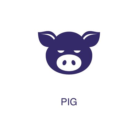Pig element in flat simple style on white background. Pig icon, with text name concept template