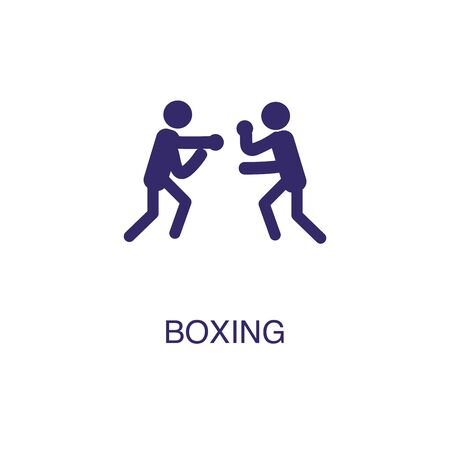 Boxing element in flat simple style on white background. Boxing icon, with text name concept template