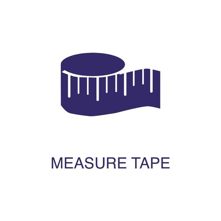 Measure tape element in flat simple style on white background. Measure tape icon, with text name concept template 向量圖像