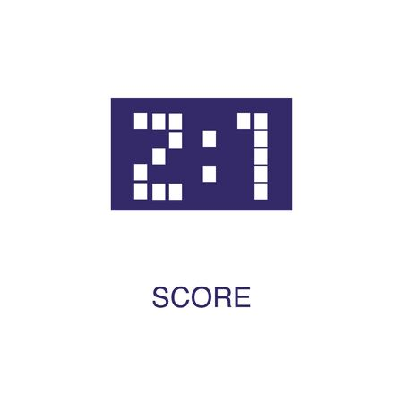 Score element in flat simple style on white background. Score icon, with text name concept template Ilustrace