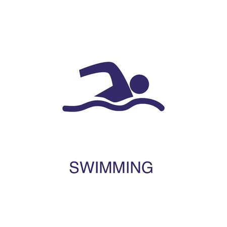Swimming element in flat simple style on white background. Swimming icon, with text name concept template Illusztráció