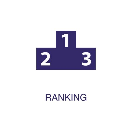 Ranking element in flat simple style on white background. Ranking icon, with text name concept template