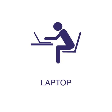 Laptop element in flat simple style on white background. Laptop icon, with text name concept template
