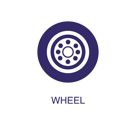 Wheel element in flat simple style on white background. Wheel icon, with text name concept template