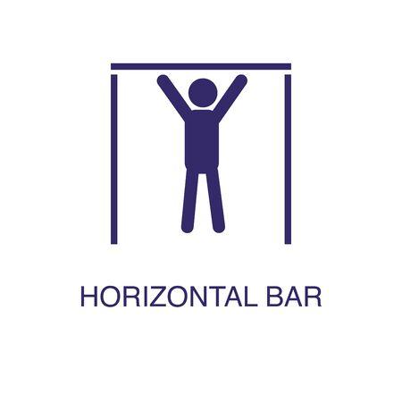 Horizontal bar element in flat simple style on white background. Horizontal bar icon, with text name concept template Illusztráció