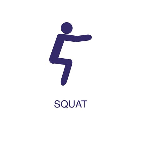 Squat element in flat simple style on white background. Squat icon, with text name concept template Illustration