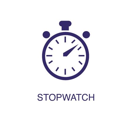 Stopwatch element in flat simple style on white background. Stopwatch icon, with text name concept template Ilustrace